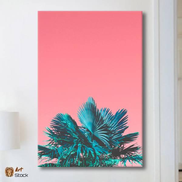 "Картина на холсте ""Листья на розовом"""