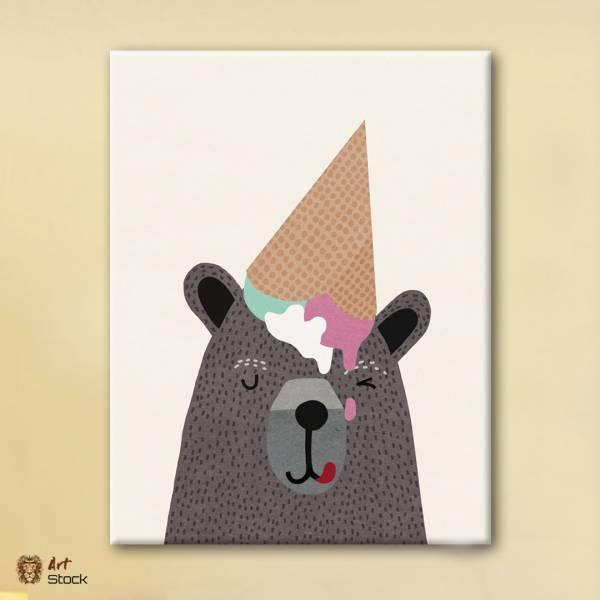 """Картина на холсте """"Медведь и мороженко"""""""